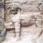 Carving of a lion in Petra, Jordan
