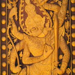 Wooden Relief of a Demon at That Luang, Vientiane, Laos