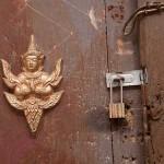Locked Wooden Door in Luang Prabang, Laos