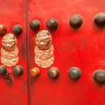 Doors With Lion Plaques in the Forbidden City, Beijing