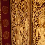 Wooden Panel Decorated With Dancing Female Forms in Luang Prabang, Laos