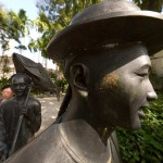 Life-Size Bronze Statues at Ann Siang Hill Park, China Town, Singapore