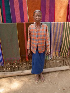 Chin Tribe Woman Posing With Scarves She Made, Rakhine State, Myanmar
