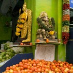 Hindu Deities at a Fruit Stand in Little India, Singapore