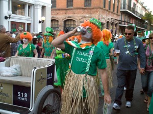 St. Patrick's Day Parade Participant Getting Refreshed, New Orleans