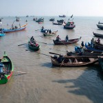 Fishing Boats Going Out To Sea in Sittwe, Myanmar