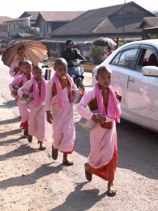 Novice Nuns Collecting Morning Alms in Kyaukme, Myanmar