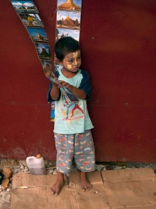 Small Boy Selling Postcards in Yangon, Myanmar
