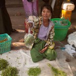 Woman Selling Herbs on the Street in Sittwe, Myanmar