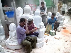 Artisans Sculpting Buddha Statues in Mandalay, Myanmar