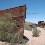 Two Rusted Wrecks of Former Fishing Boats in Moynaq, Uzbekistan