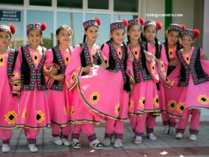 Girls in Traditional Karakalpakstan Costumes in Moynaq, Uzbekistan