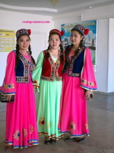 Teenage Girls in Traditional Karakalpak Dress in Moynaq, Uzbekistan