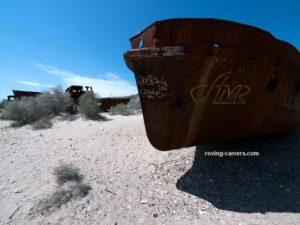 Rusted Remains of Fishing Boats in Moynaq, Uzbekistan